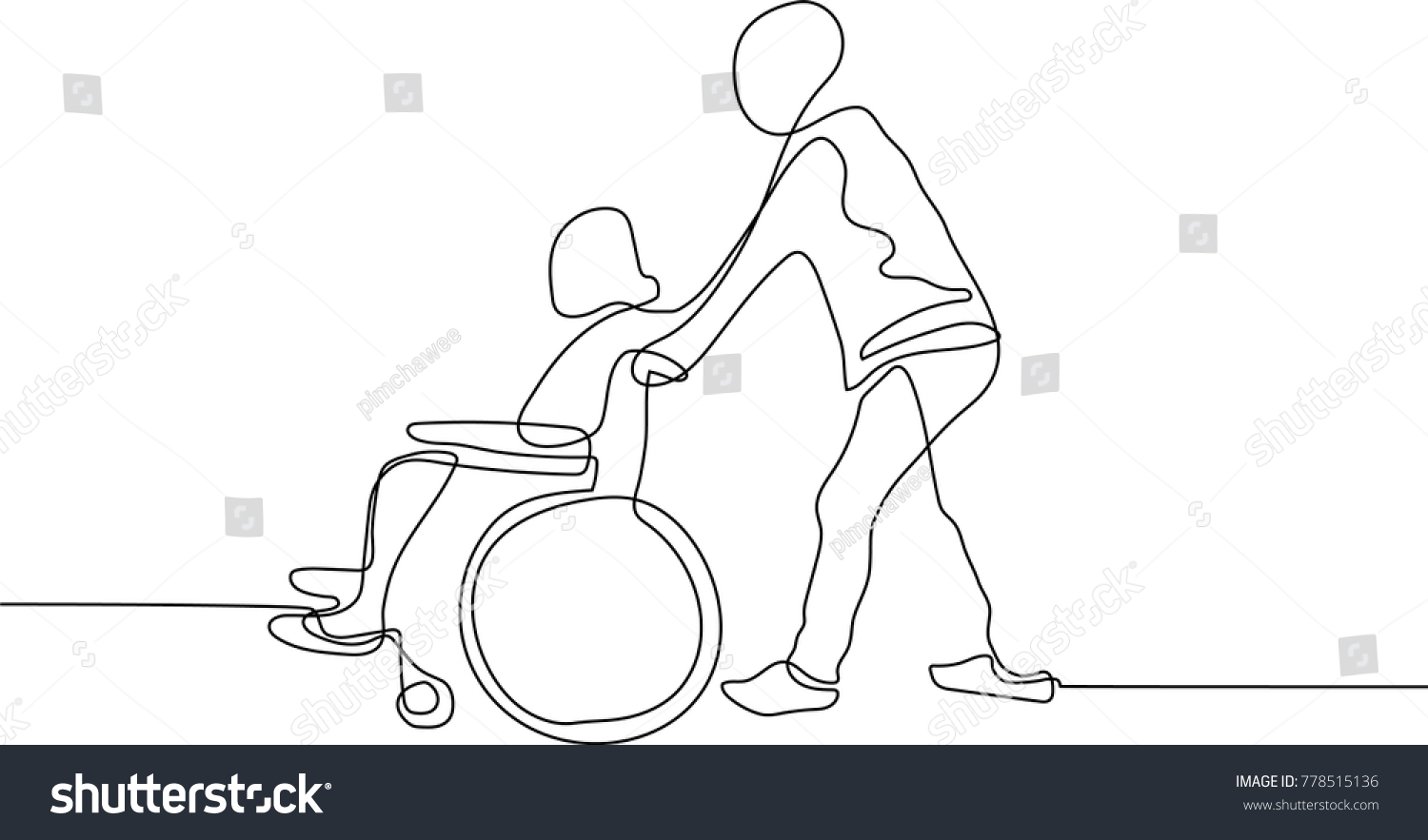 Line Drawing Of People Pushing Wiring Diagrams Dcac Solid State Relay Or Ssr Del30008 Continuous Man Wheelchair Stock Vector Royalty Rh Shutterstock Com Drawings Cartoon