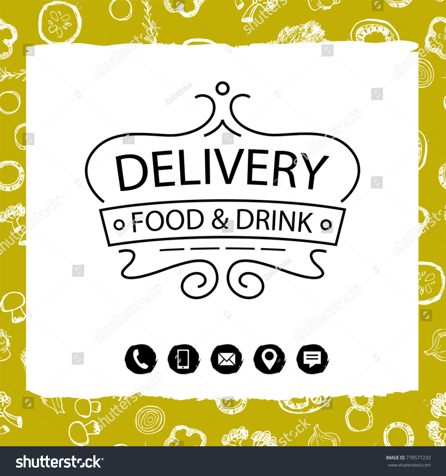 luxury silhouette crown food drink delivery stock vector royalty