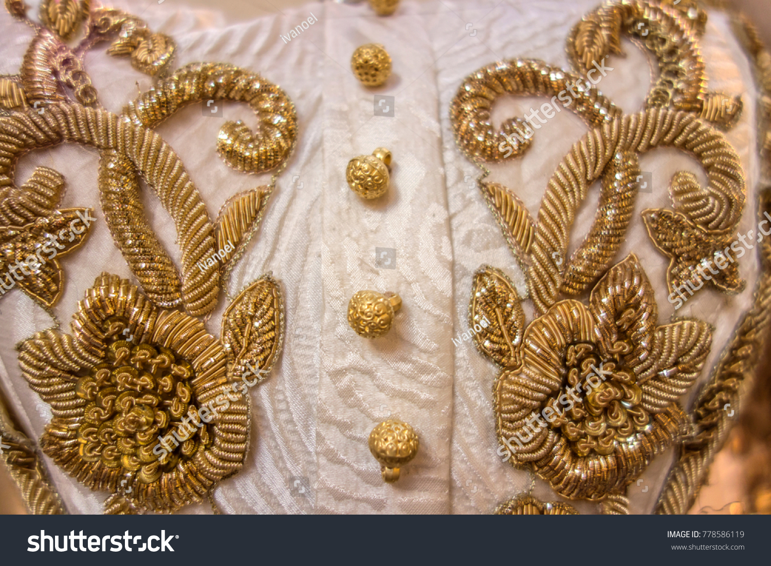 Vintage Gold Embroidery Floral Pattern On Stock Photo Edit Now