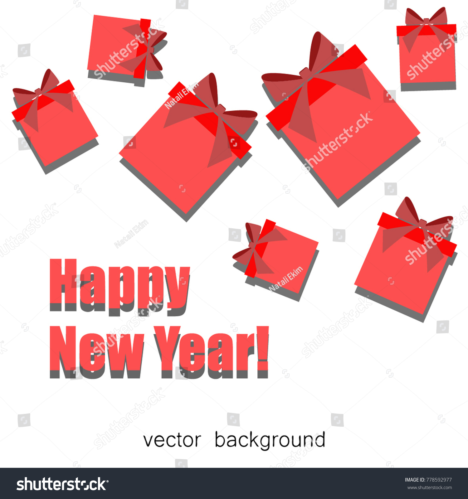 Christmas Gifts Gift Card Ribbon New Stock Vector (Royalty Free ...