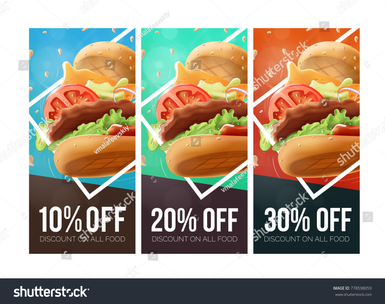 Fast Food Burger Discount Voucher Template Stock Vector 778598059 Stock  Vector Fast Food Burger Discount Voucher