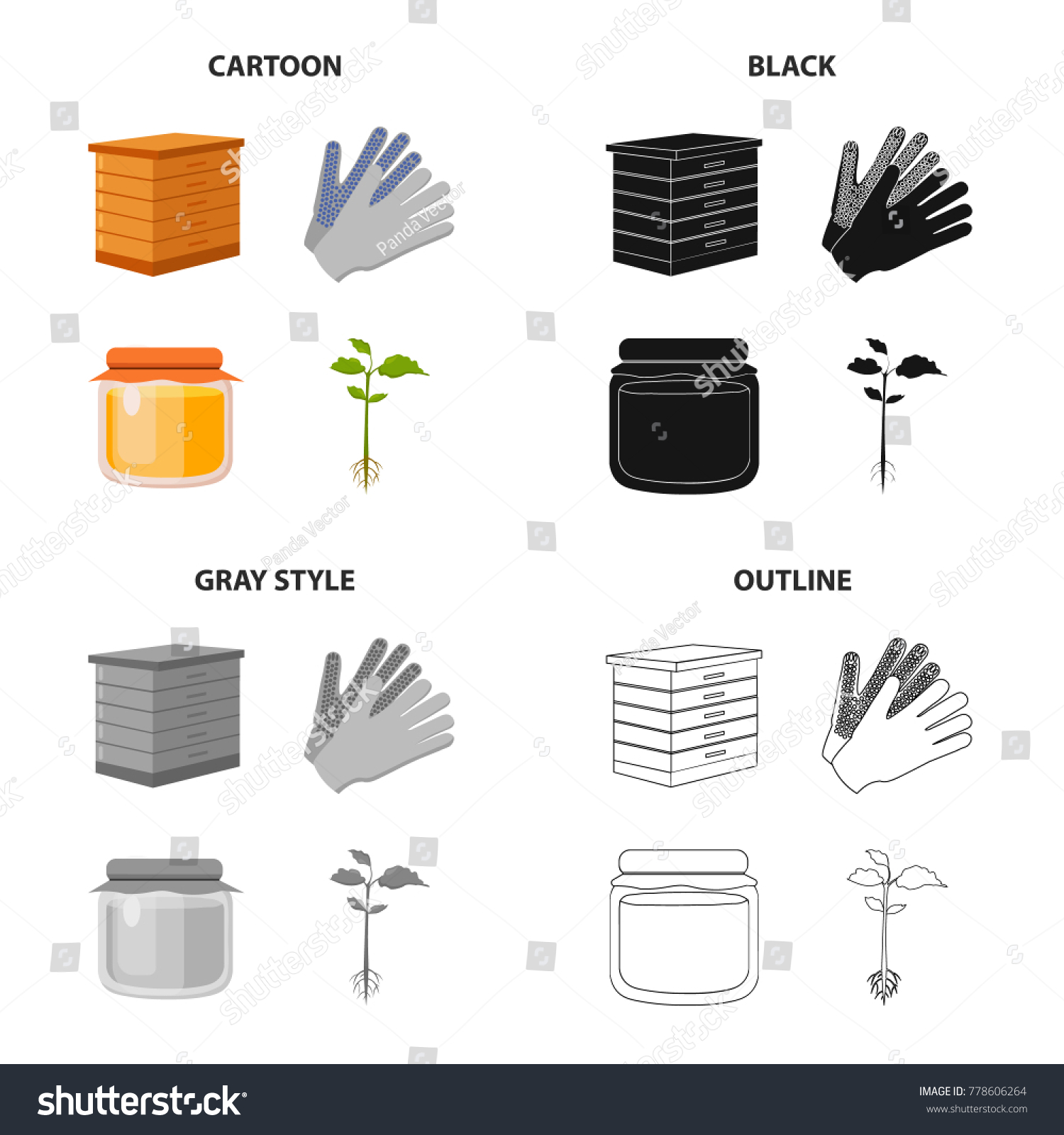 Hive Bees Gloves Work On Farm Stock Vector Royalty Free 778606264 Beehive Phone Wiring Diagram For The Honey In Pot