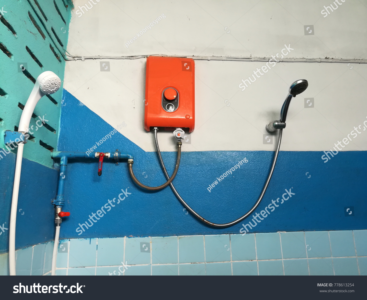 Cool Hot Water Heater Blue Bathroom Wall Stock Photo Edit Now 778613254 Wiring Digital Resources Indicompassionincorg