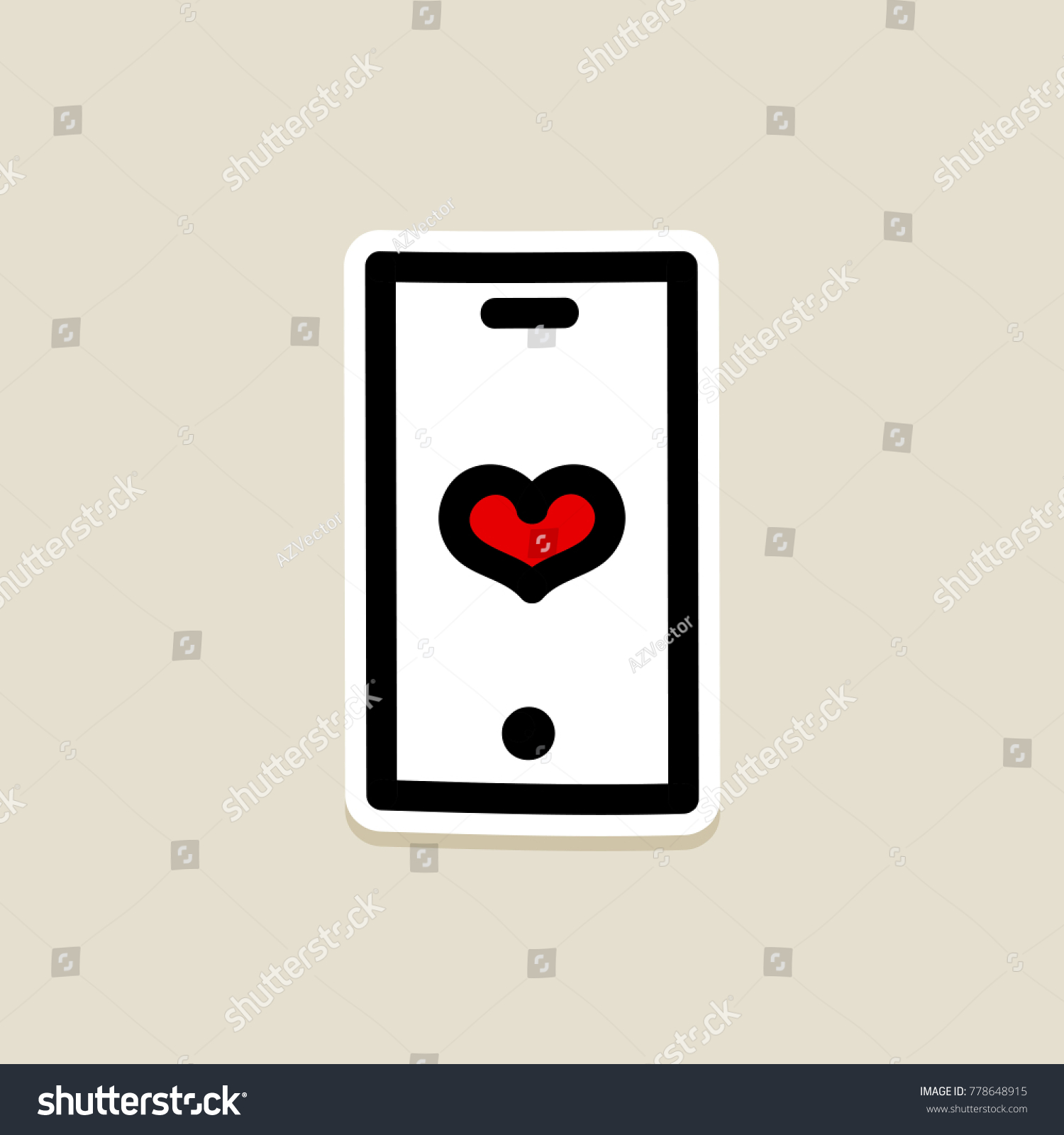 Technology Heart Smartphone Mobile Phone Romantic Telephone Call.  Valentineu0027s Day Icon, Doodle, Hand