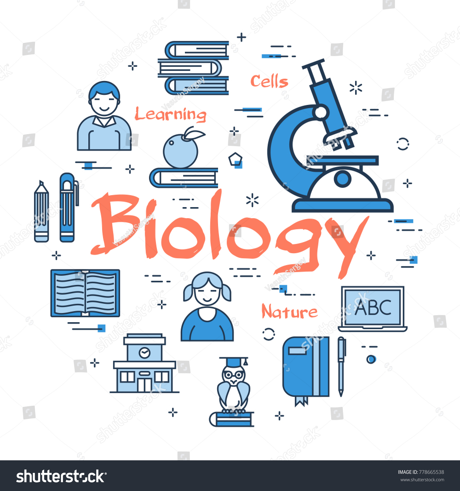 Vector Linear Blue Round Concept Biology Stock Vector 778665538
