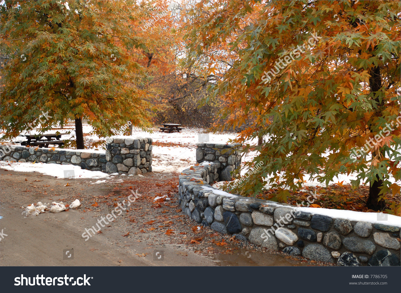 Entrance To Park Picnic Area Oak Glen California Stock