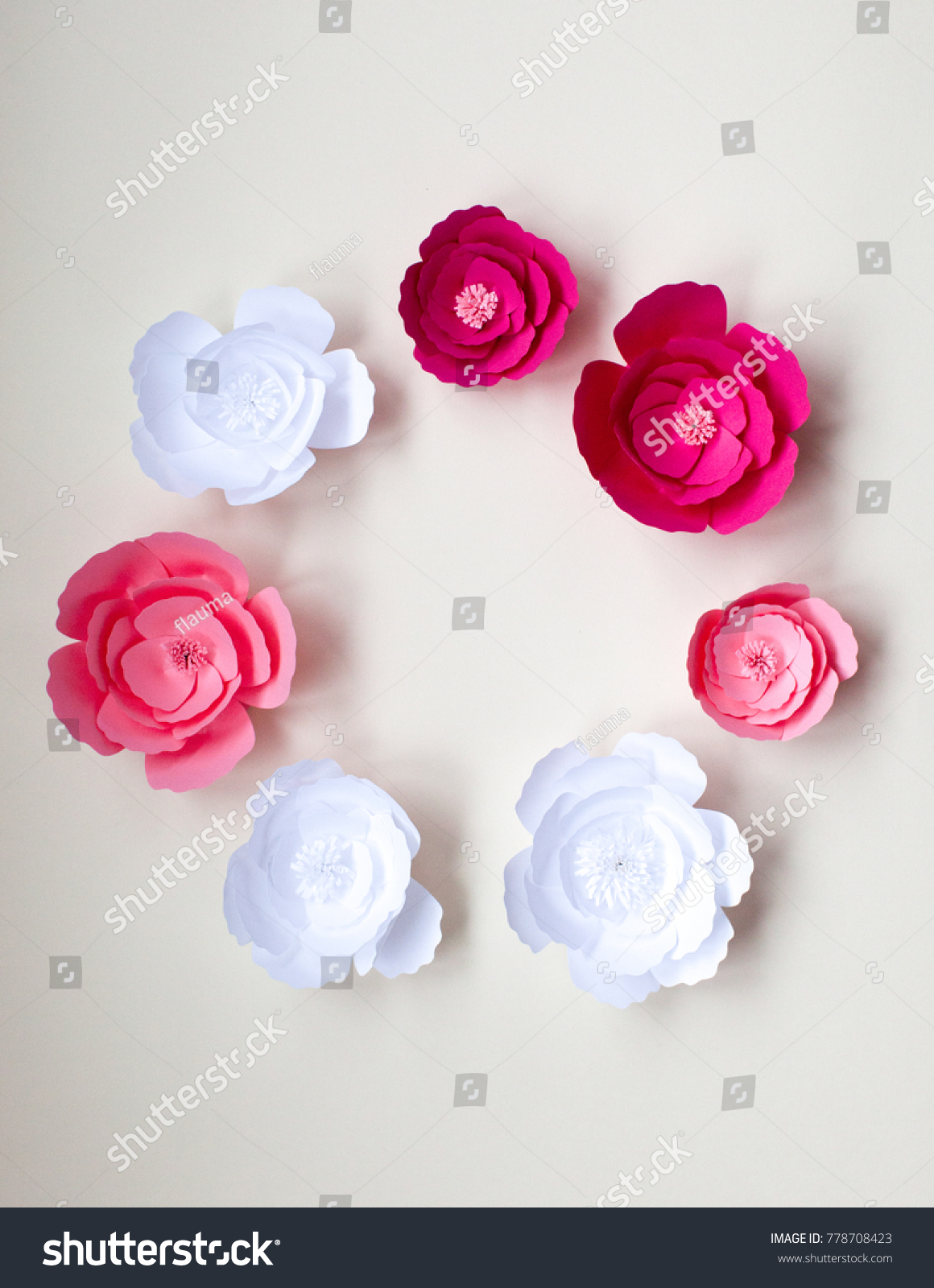 Handmade Paper Flowers On Paper Background Stock Photo Edit Now