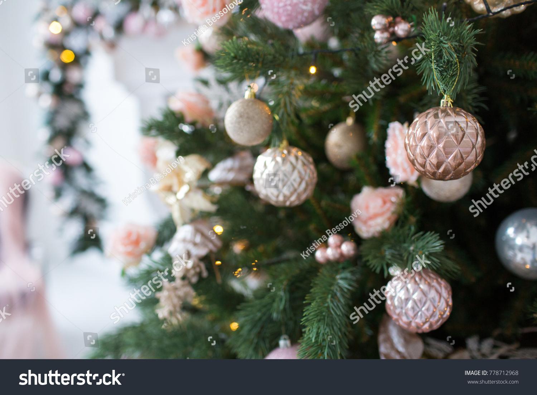 Pink White Christmas Tree Decoration Stock Photo Edit Now 778712968