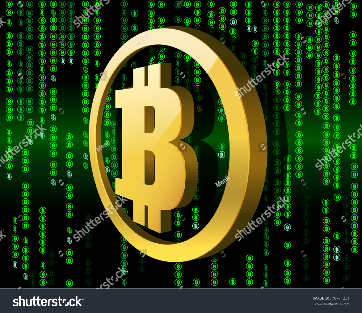 3 D Symbol Bitcoin Dark Green Background Stock Vector Royalty Free