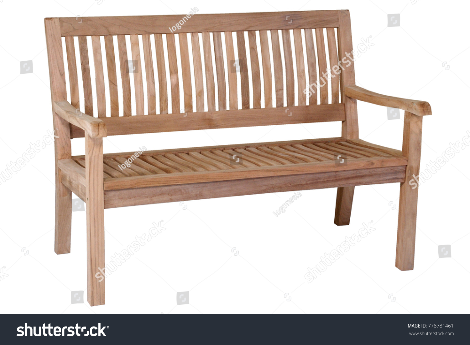 Teak Bench Garden Furniture Bench White Stock Photo (Edit Now ...
