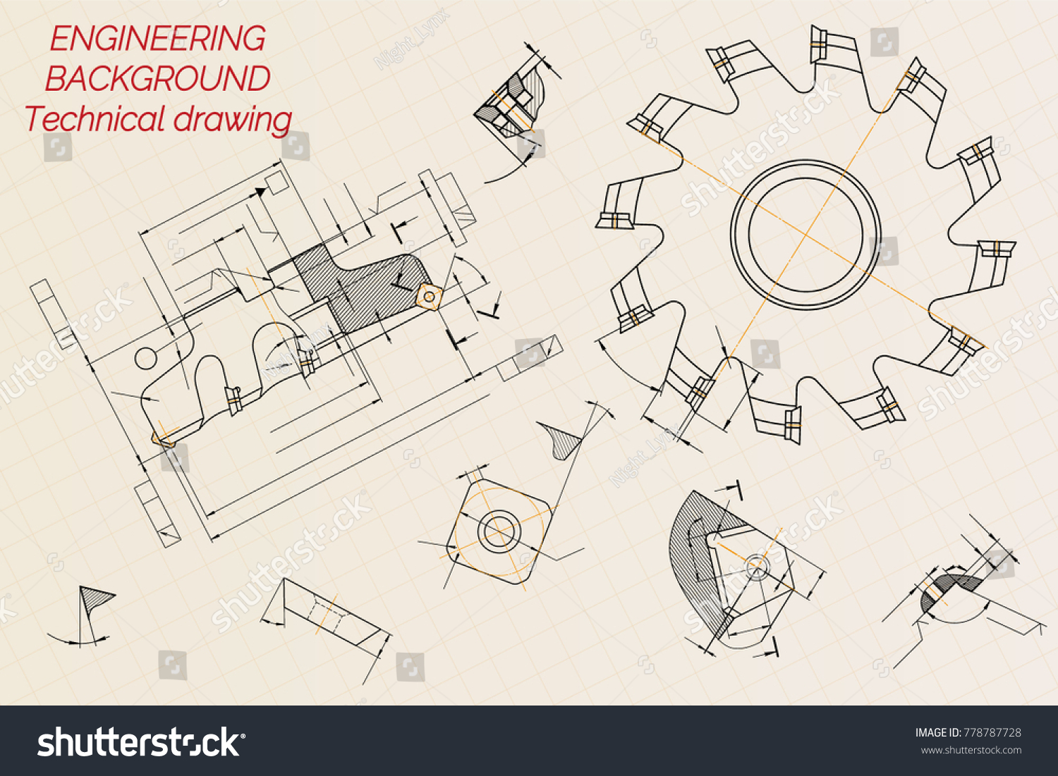 Mechanical engineering drawings on beige technical stock vector mechanical engineering drawings on beige technical paper background cutting tools milling cutter industrial malvernweather Image collections