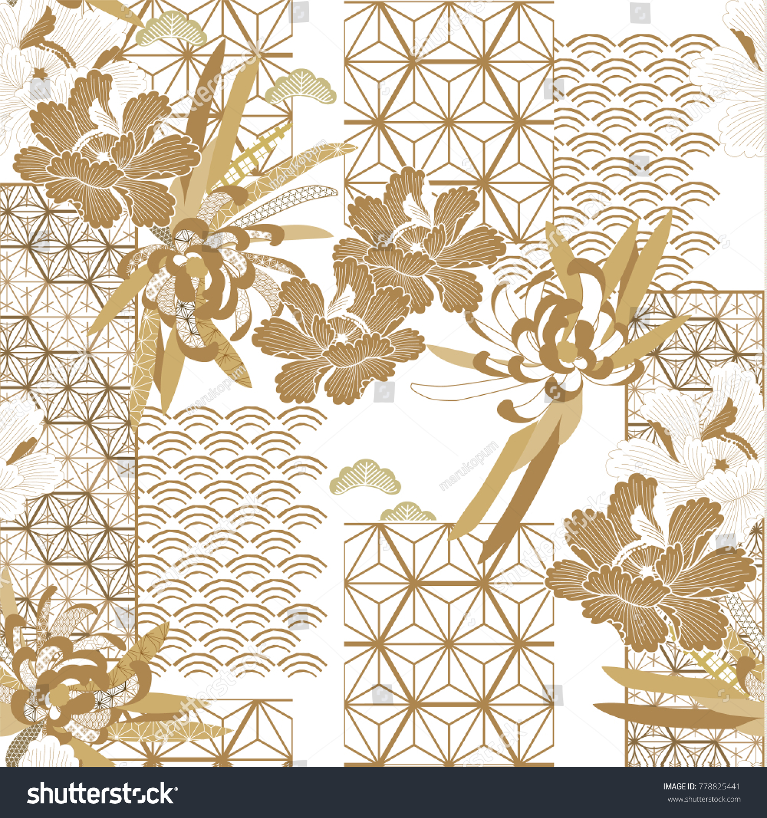 Japanese Pattern Seamless Vector Gold Floral Stock Vector Royalty