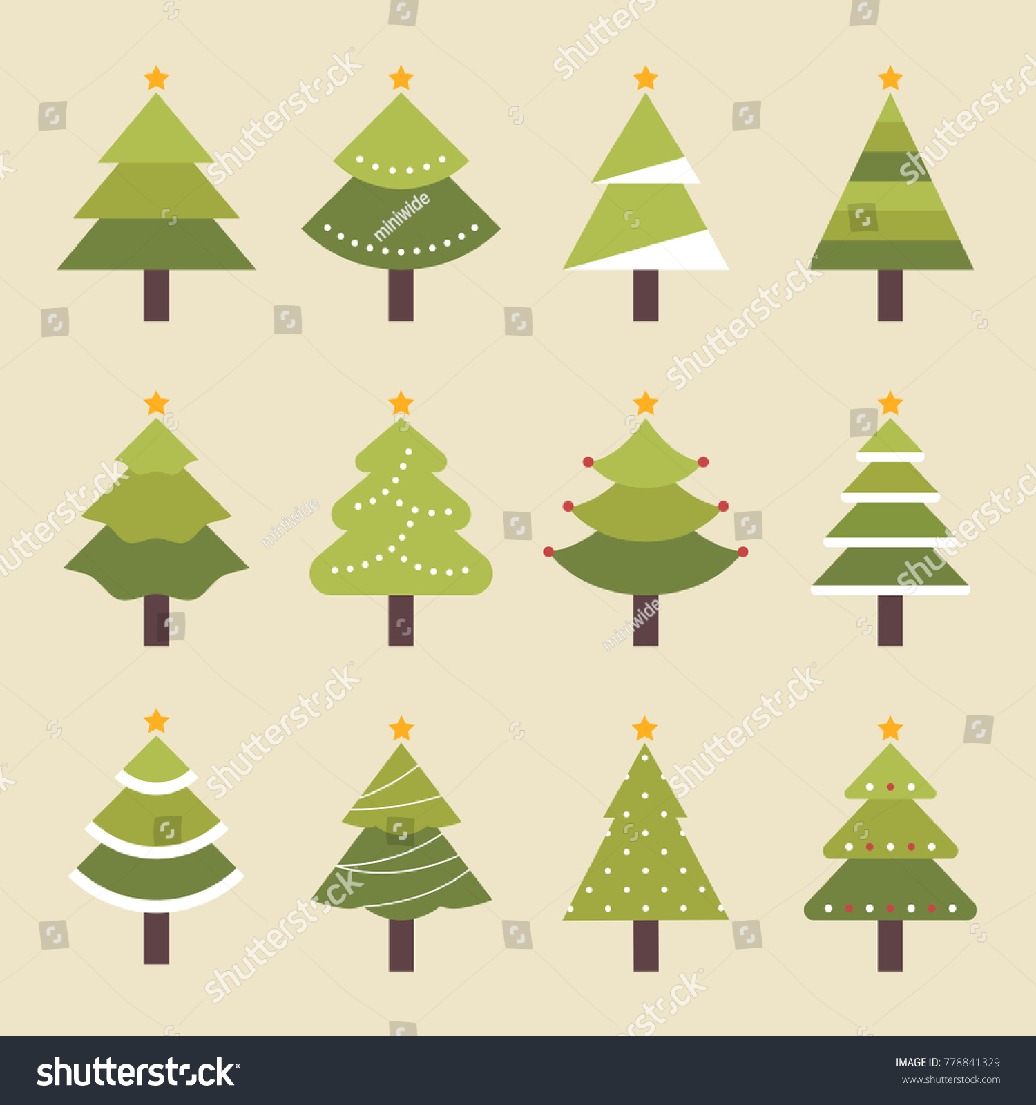 Various Kind Shapes Christmas Trees Vector Stock Vector (Royalty ...