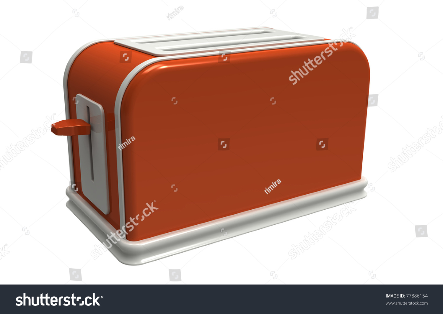 3d render of orange toaster on a white background stock photo 77886154 shutterstock. Black Bedroom Furniture Sets. Home Design Ideas