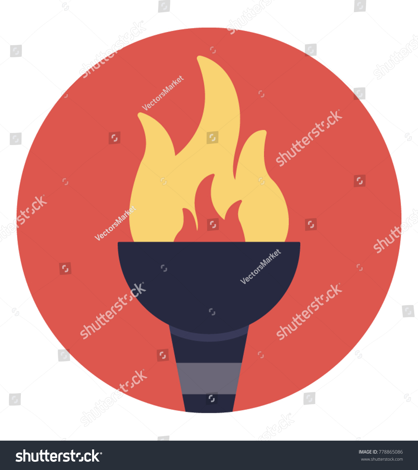 Olympic Torch Inauguration Olympic Games Symbolic Stock Vector