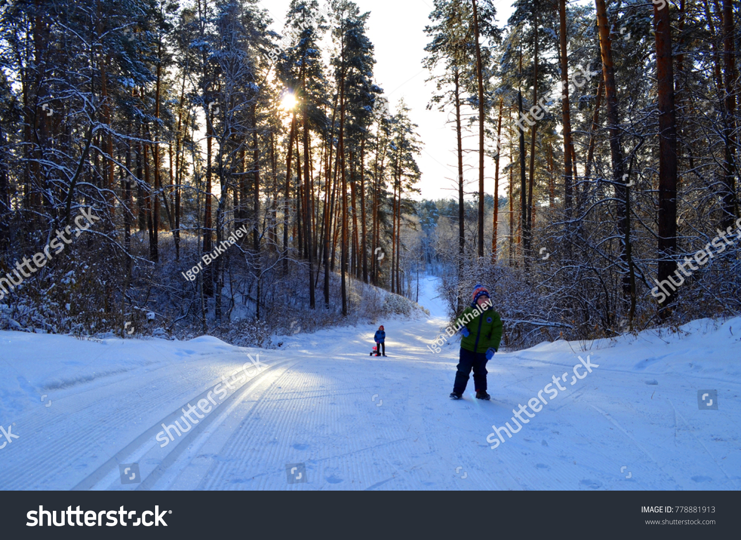Winter holiday in the fresh air, sledding down a hill in a frosty Sunny day #778881913