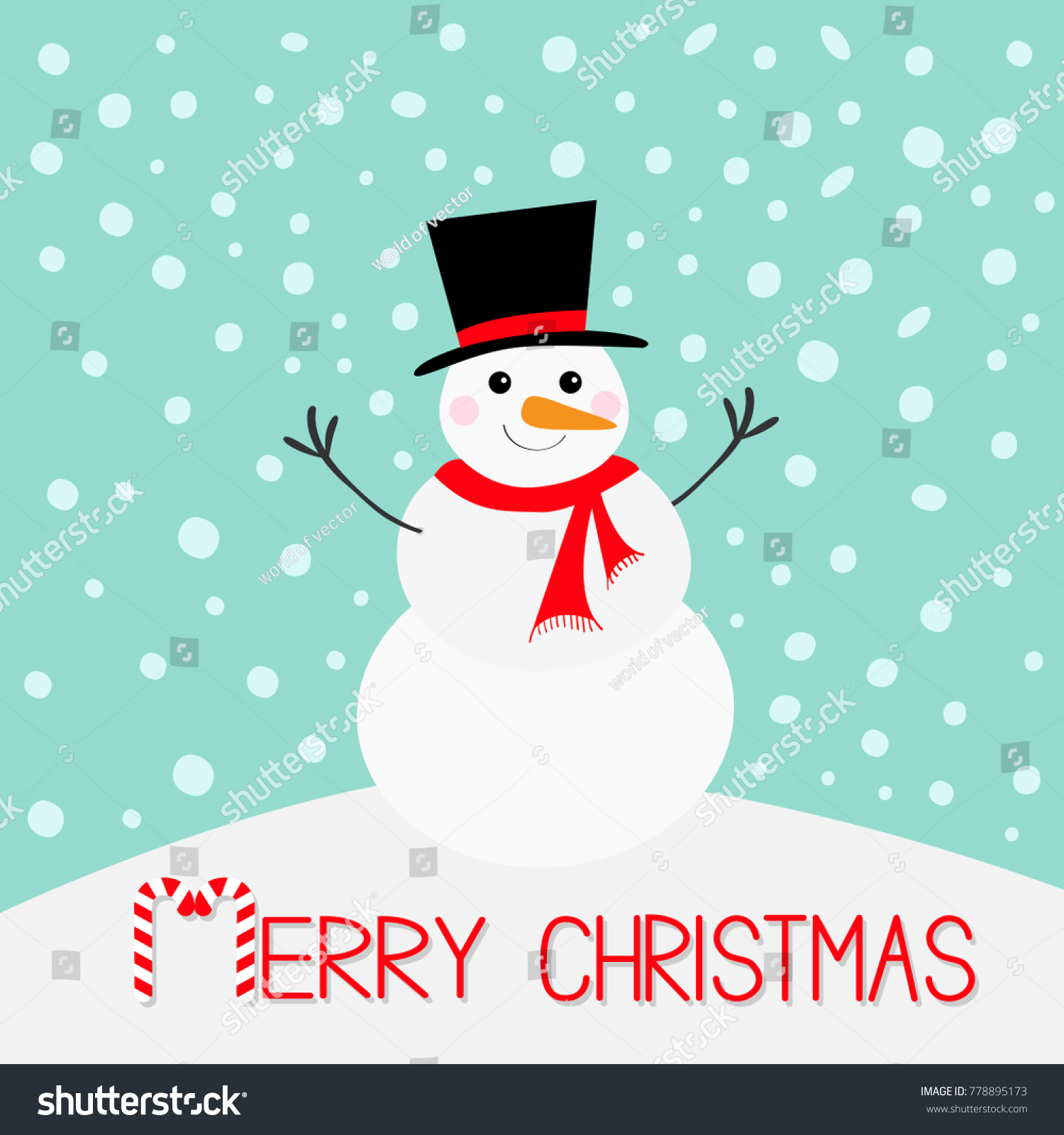 Merry Christmas. Snowman, carrot nose, hat, red scarf and snowflakes ...