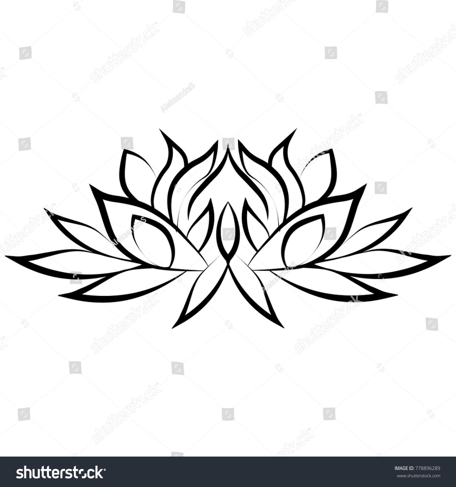 Lotus Flower Silhouette Stock Vector Royalty Free 778896289