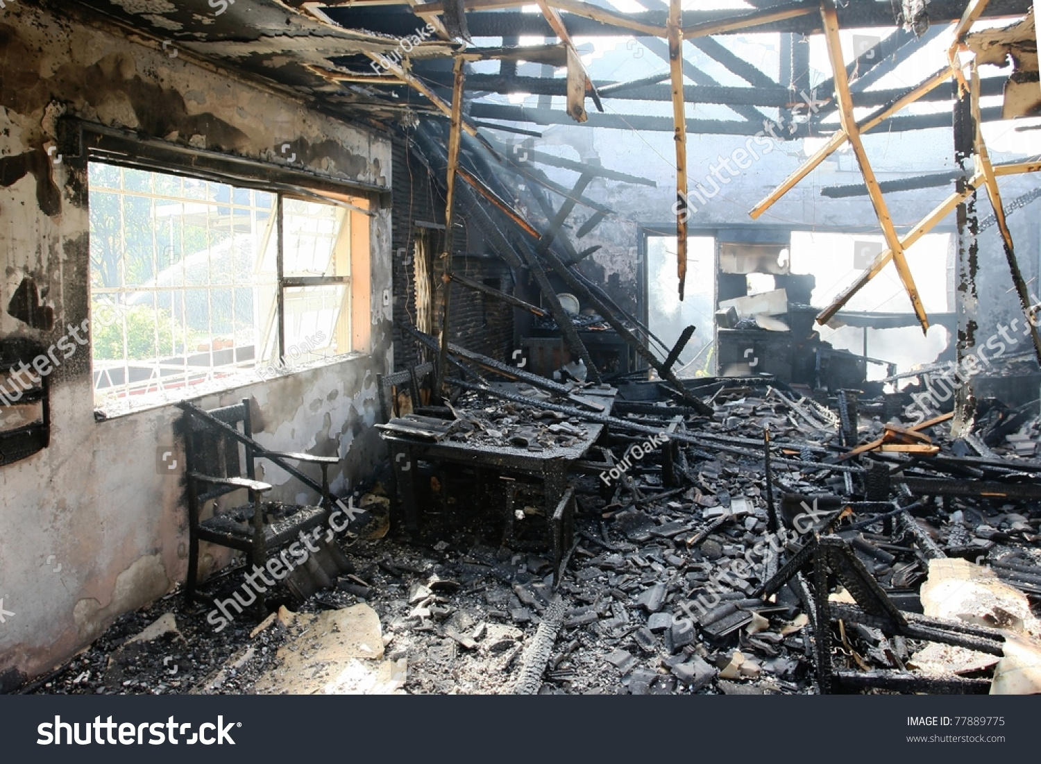 Awe Inspiring Burnt Out House Charred Roof Trusses Stock Photo 77889775 Largest Home Design Picture Inspirations Pitcheantrous