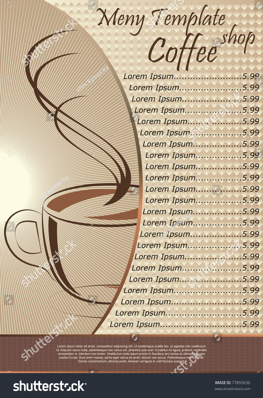 Coffee shop menu template vector illustration 77893636 for Coffee price list template