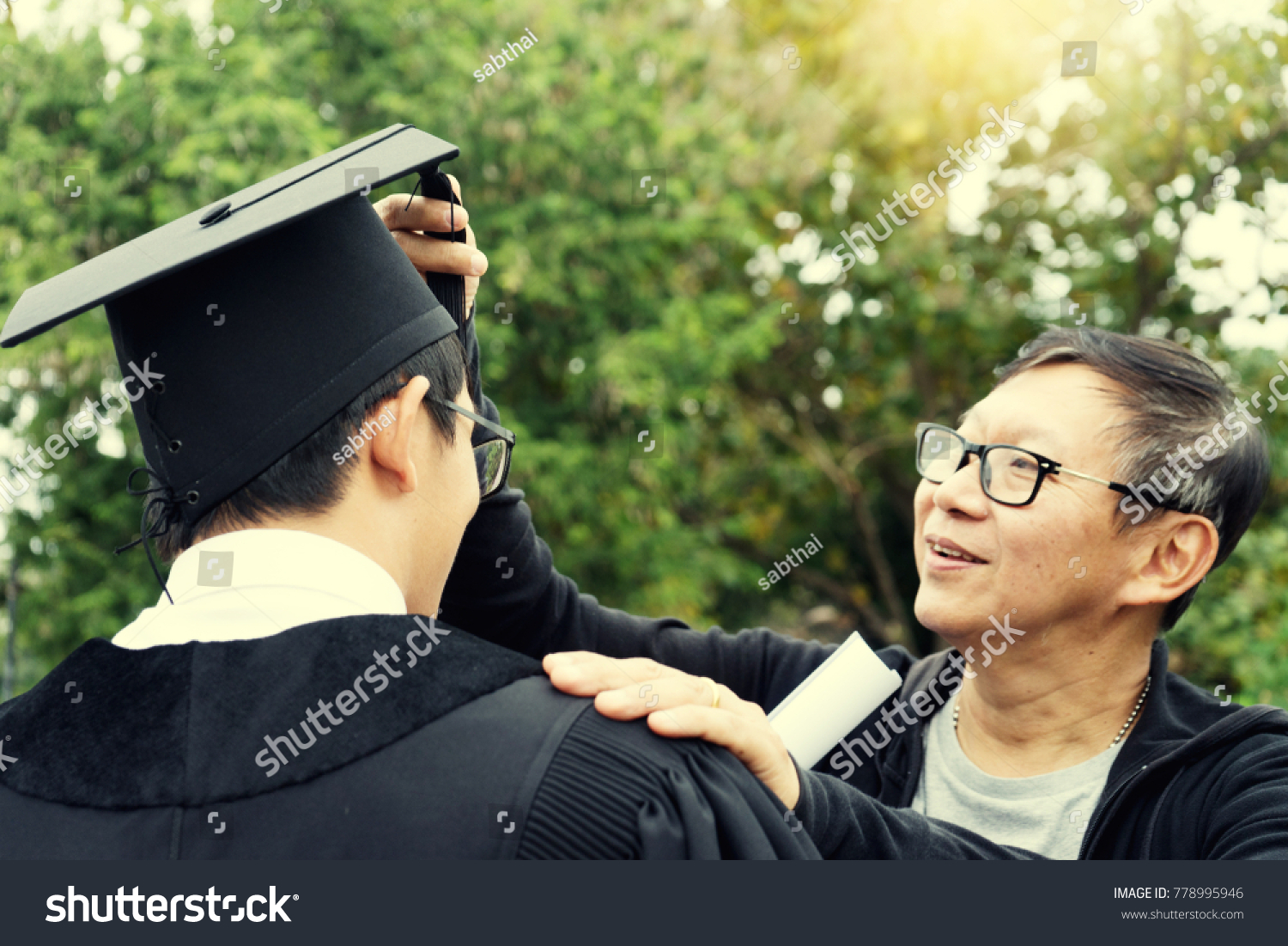 Father Take Care His Son New Stock Photo (Royalty Free) 778995946 ...