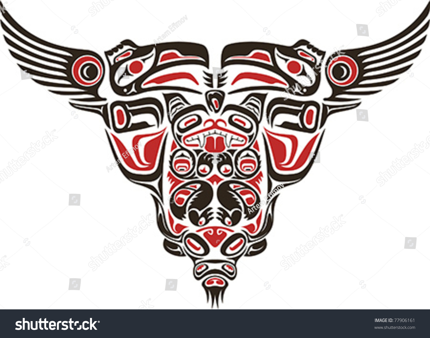 haida style tattoo design created animal stock vector 77906161 shutterstock. Black Bedroom Furniture Sets. Home Design Ideas