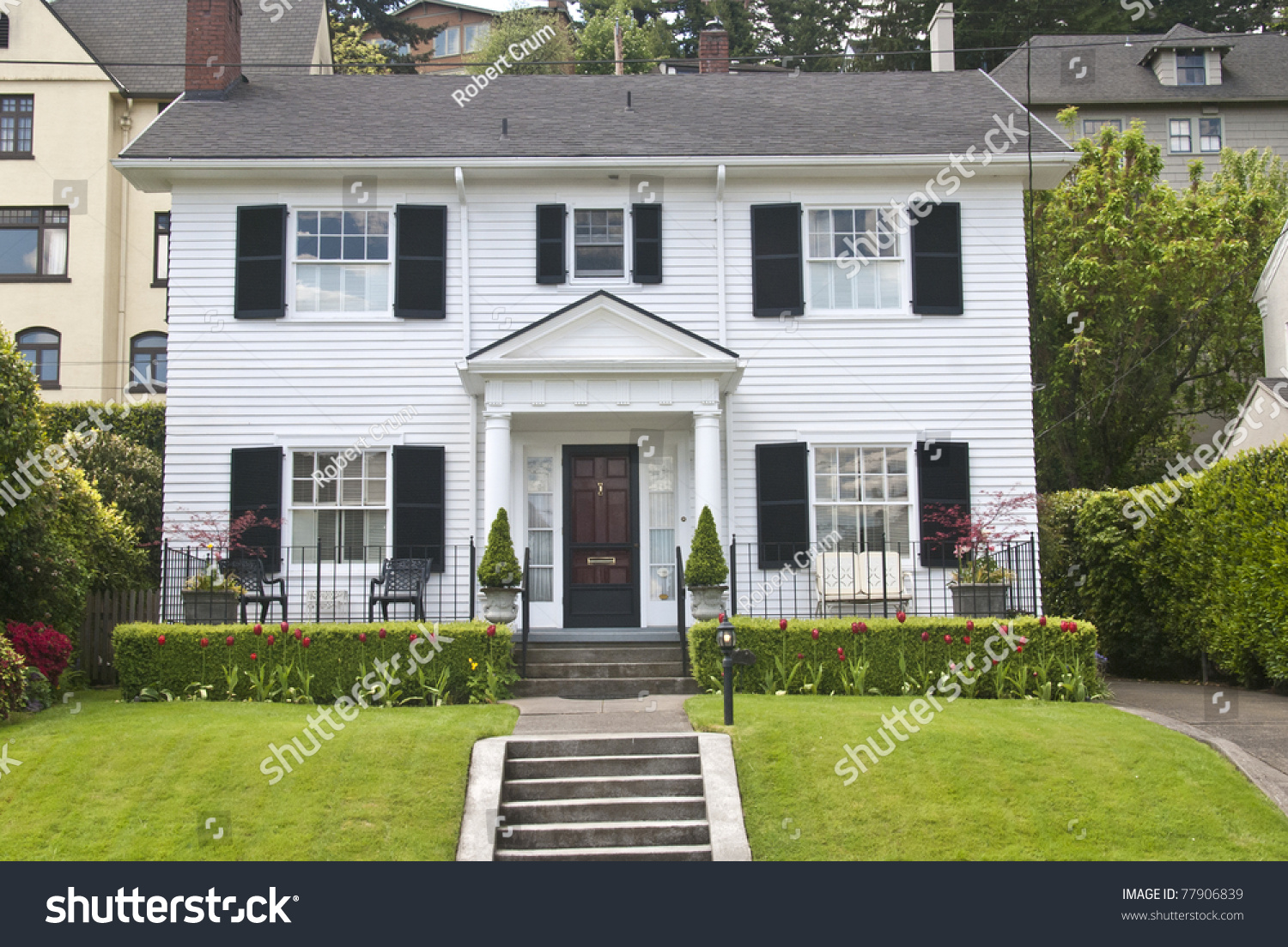 Classic american wooden clapboard house stock photo for Classic american house
