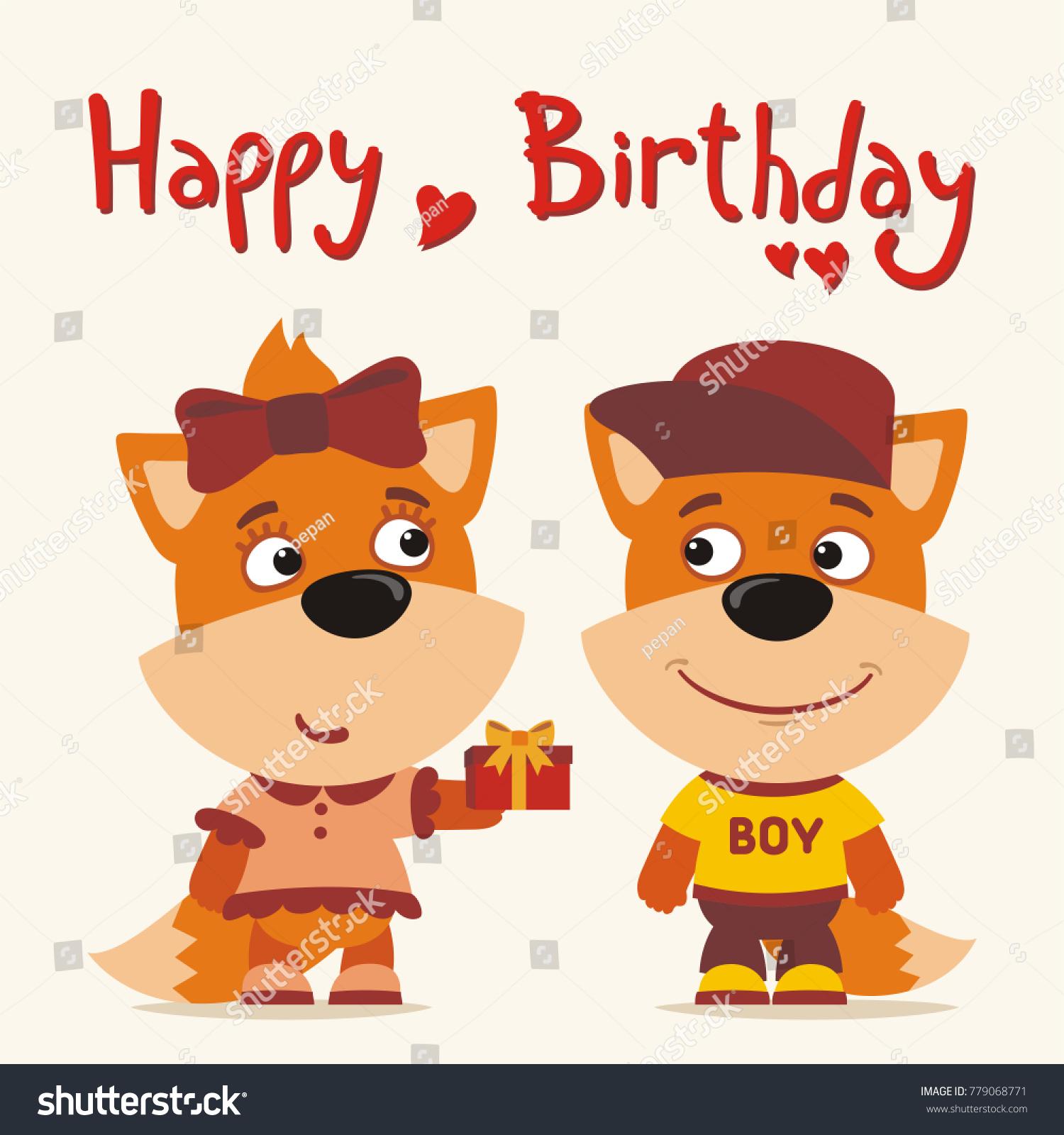 Happy Birthday Greeting Card Funny Fox Stock Vector