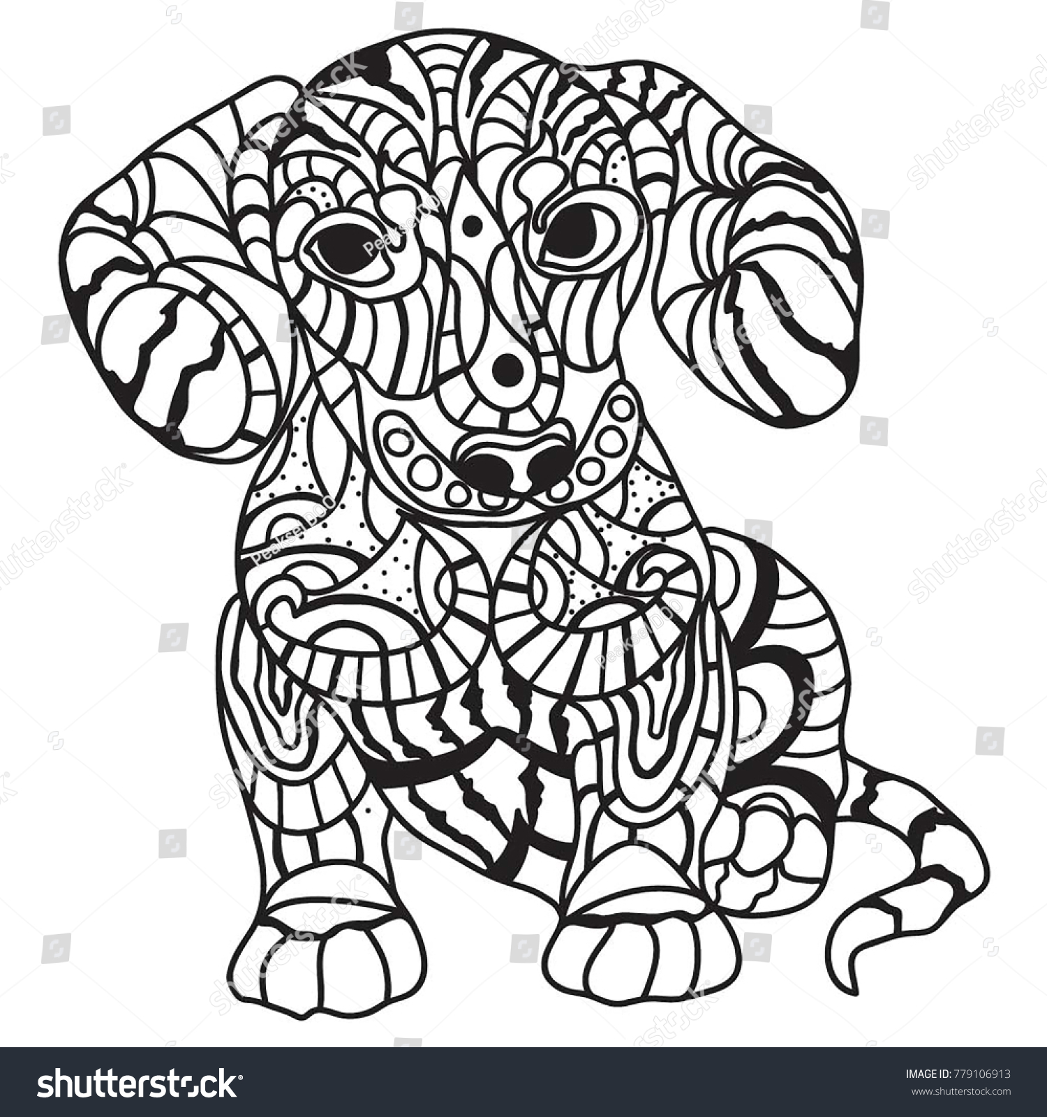 Puppy Dog Big Ears Coloring Page Stock Illustration 779106913