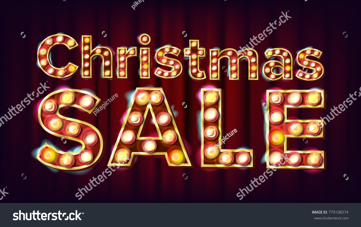 Christmas Sale Sign Vector 3d Electric Glowing Digit Flyer Banner