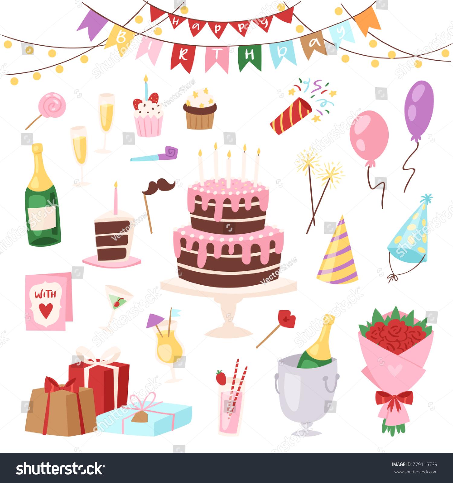 Birthday Kids Party Vector Cartoon Childs Stock Vector