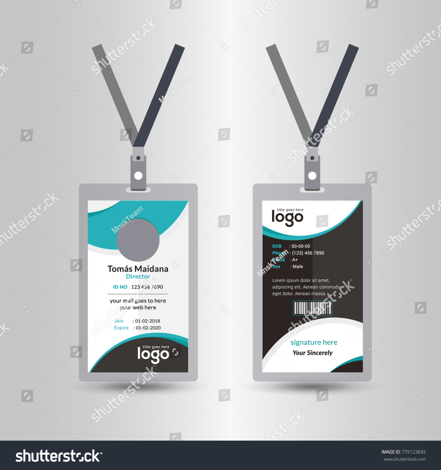Creative Simple Green Black Id Card Stock Vector (Royalty Free ...