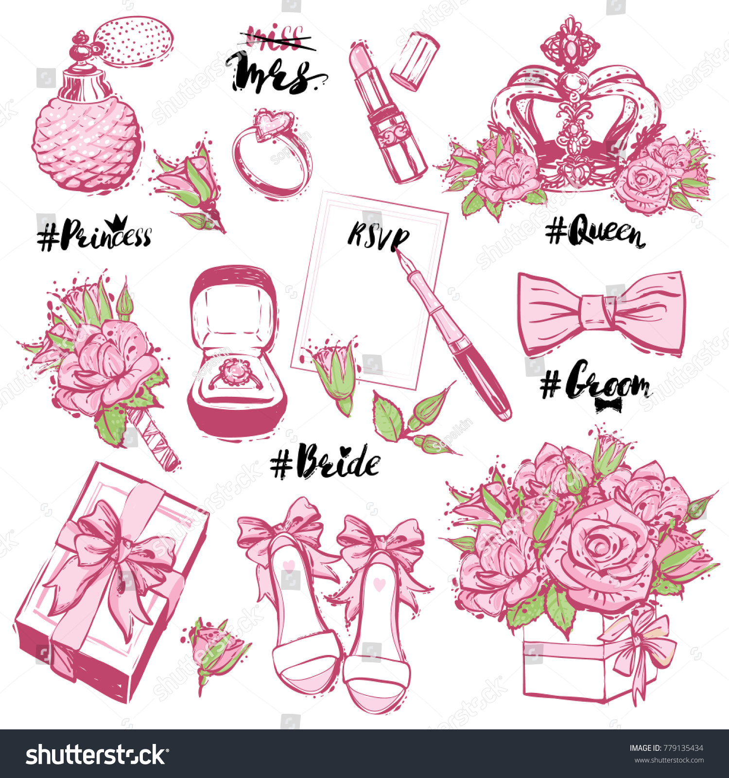 Vector Wedding Fashion patches and stickers elements, separated ...