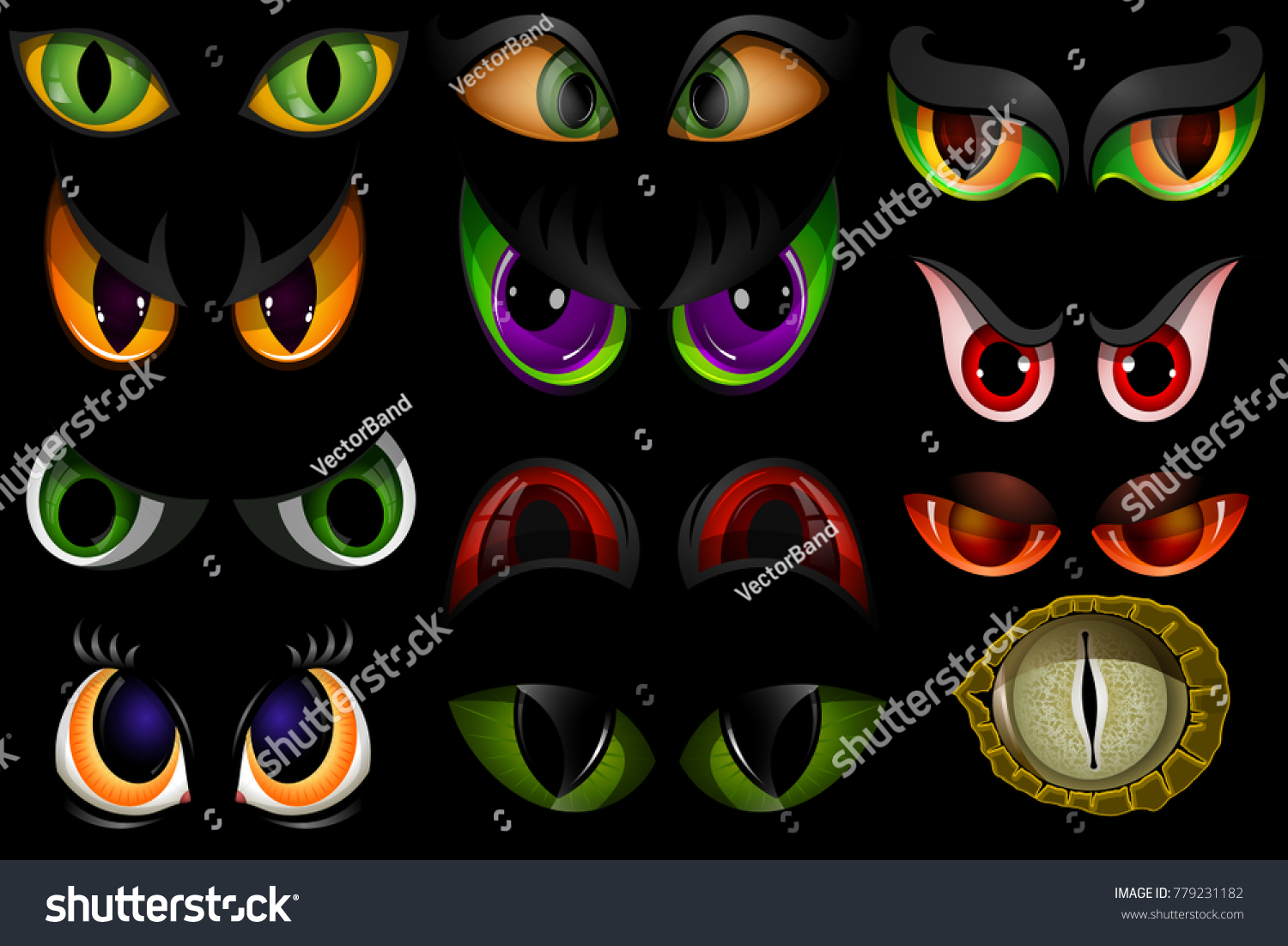 831b71e0b8e8 Cartoon vector eyes beast devil monster animals eyeballs of angry or scary  expressions evil eyebrow and