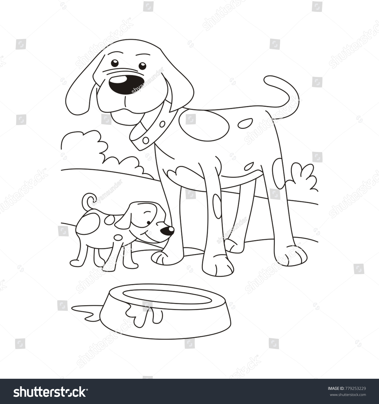 Dog Puppy Coloring Page Stock Vector 779253229 - Shutterstock