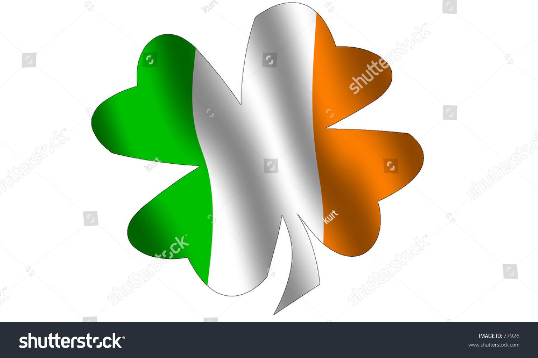 Shamrock Filled Waving Irish Flag National Stock Illustration 77926