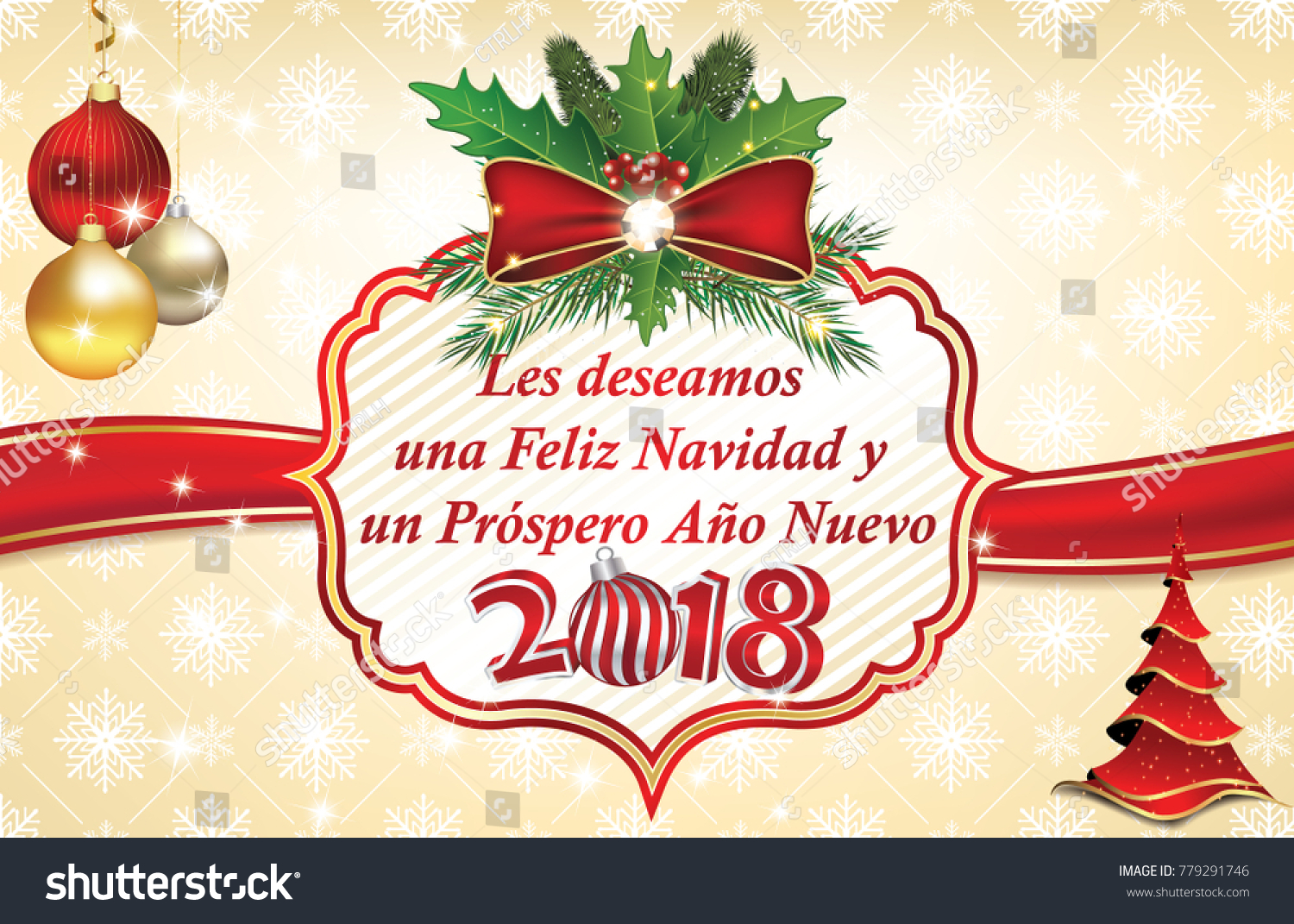 Spanish Business Merry Christmas Happy New Stock Illustration