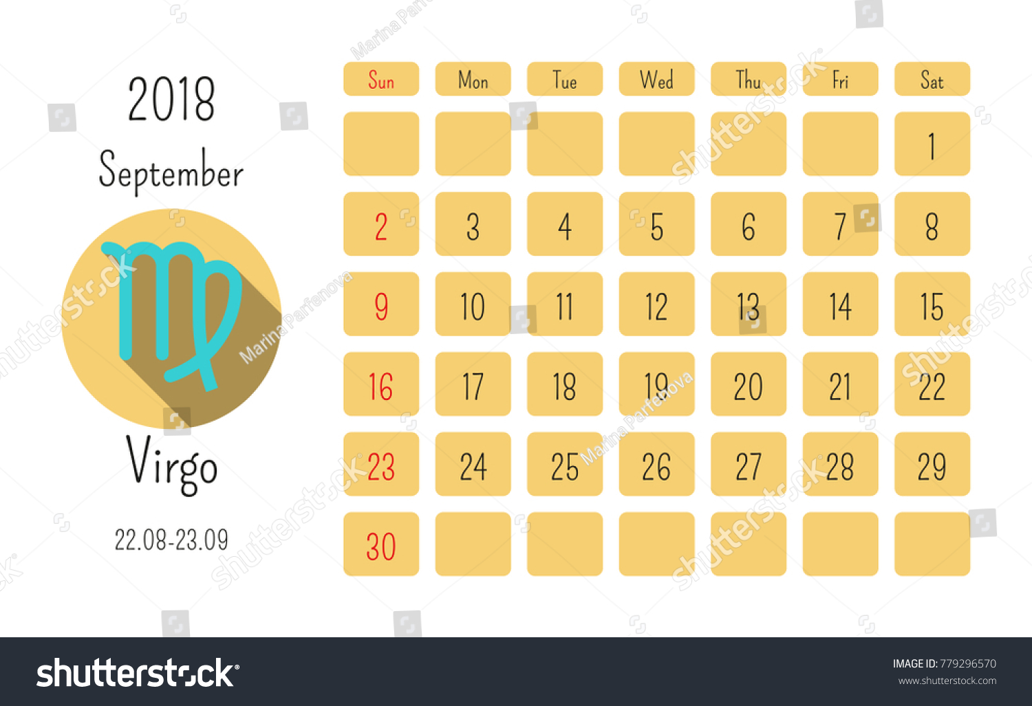 September calendar 2018 horoscope signs zodiac stock vector september calendar 2018 with horoscope signs zodiac symbols flat colored template biocorpaavc Image collections