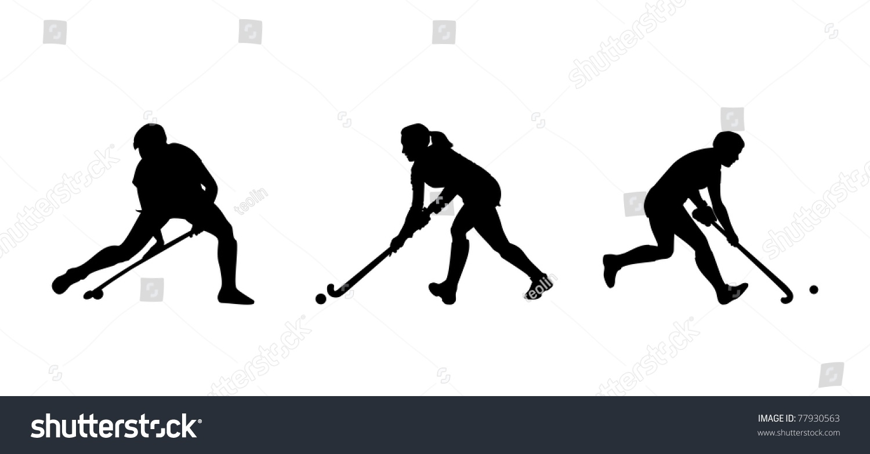 Field Hockey Player Silhouettes Stock Illustration ...