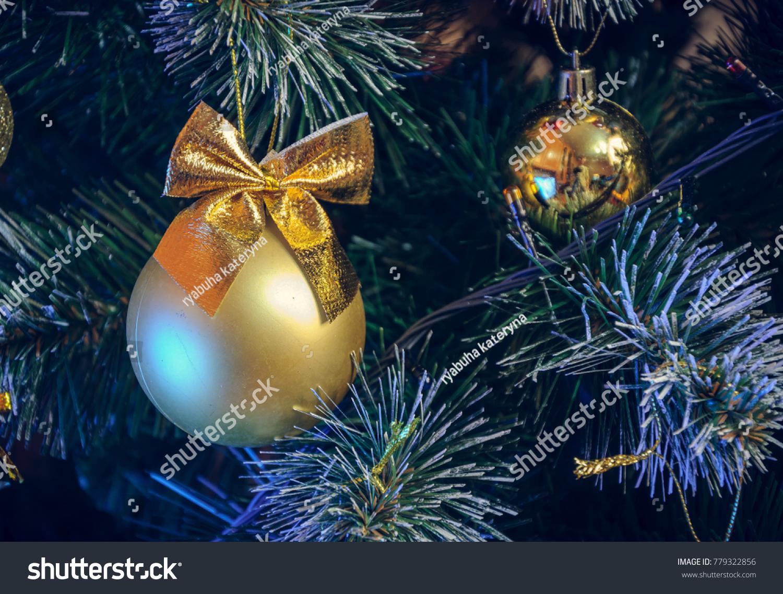 Vintage Artificial Christmas Trees.Christmas Decorations On Artificial Christmas Tree Stock Photo Edit