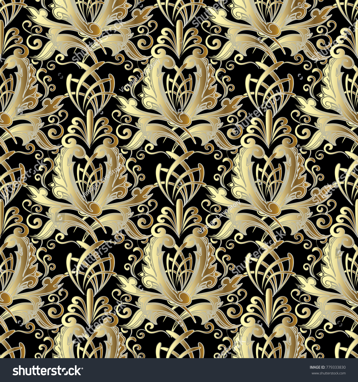Gold Baroque Vector Seamless Pattern Vintage 779333830