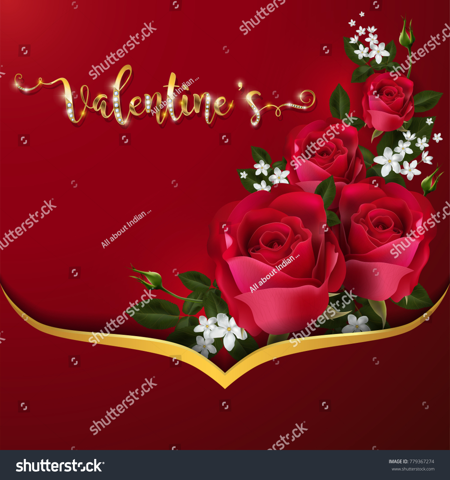 Valentines day greeting cards templates realistic stock vector hd valentines day greeting cards templates with realistic of beautiful rose gold patterned on background color m4hsunfo
