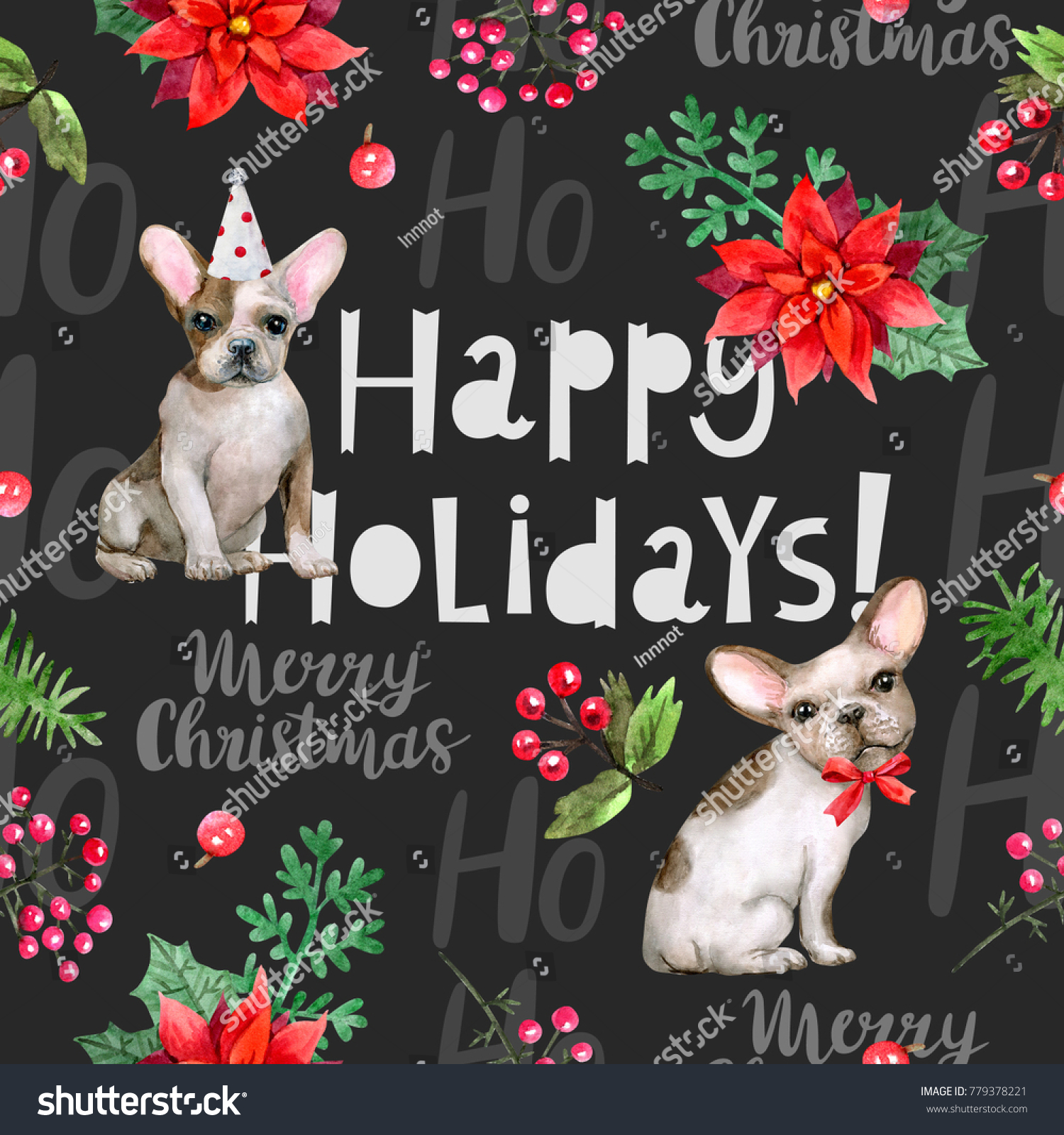 Atercolor Holiday Pattern French Bulldogs Gifts Stock Illustration ...