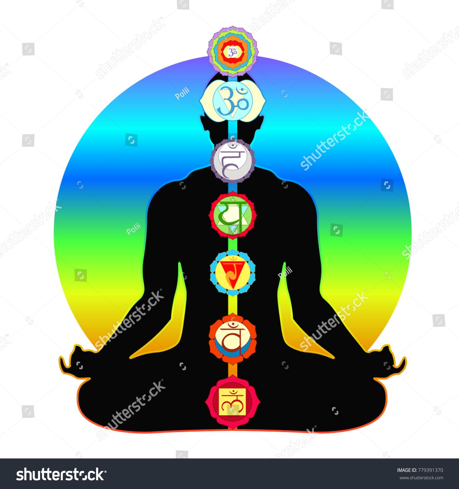 Meditation Yoga Silhouette Man Chakras Vector Stock Vector Royalty Free 779391370
