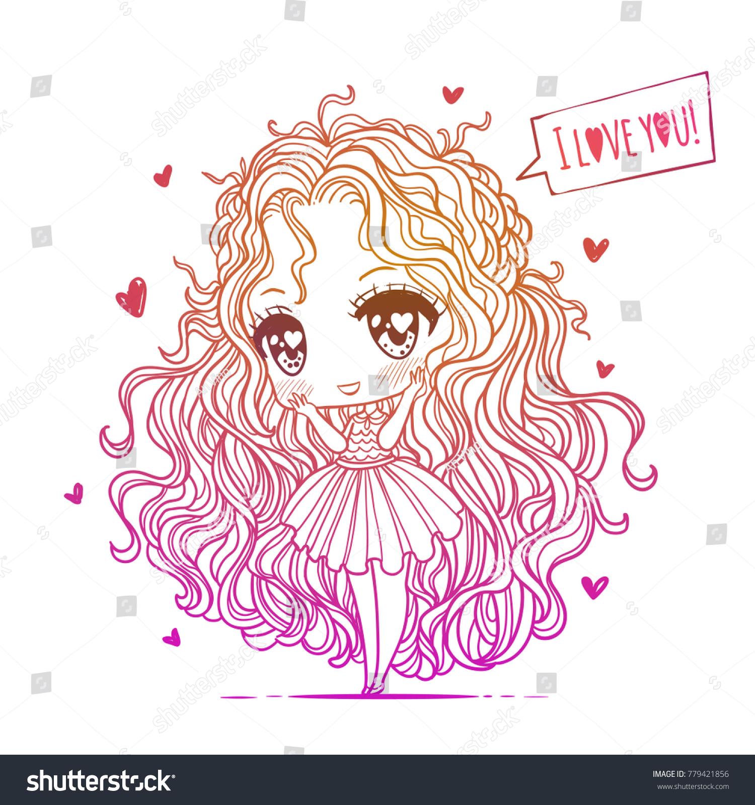 cute vector illustration kawaii anime girl stock vector (royalty