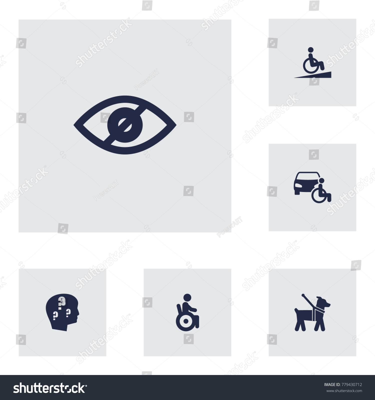 Set 6 accessibility icons setcollection universal stock vector collection of universal access blindness brain with buycottarizona Gallery