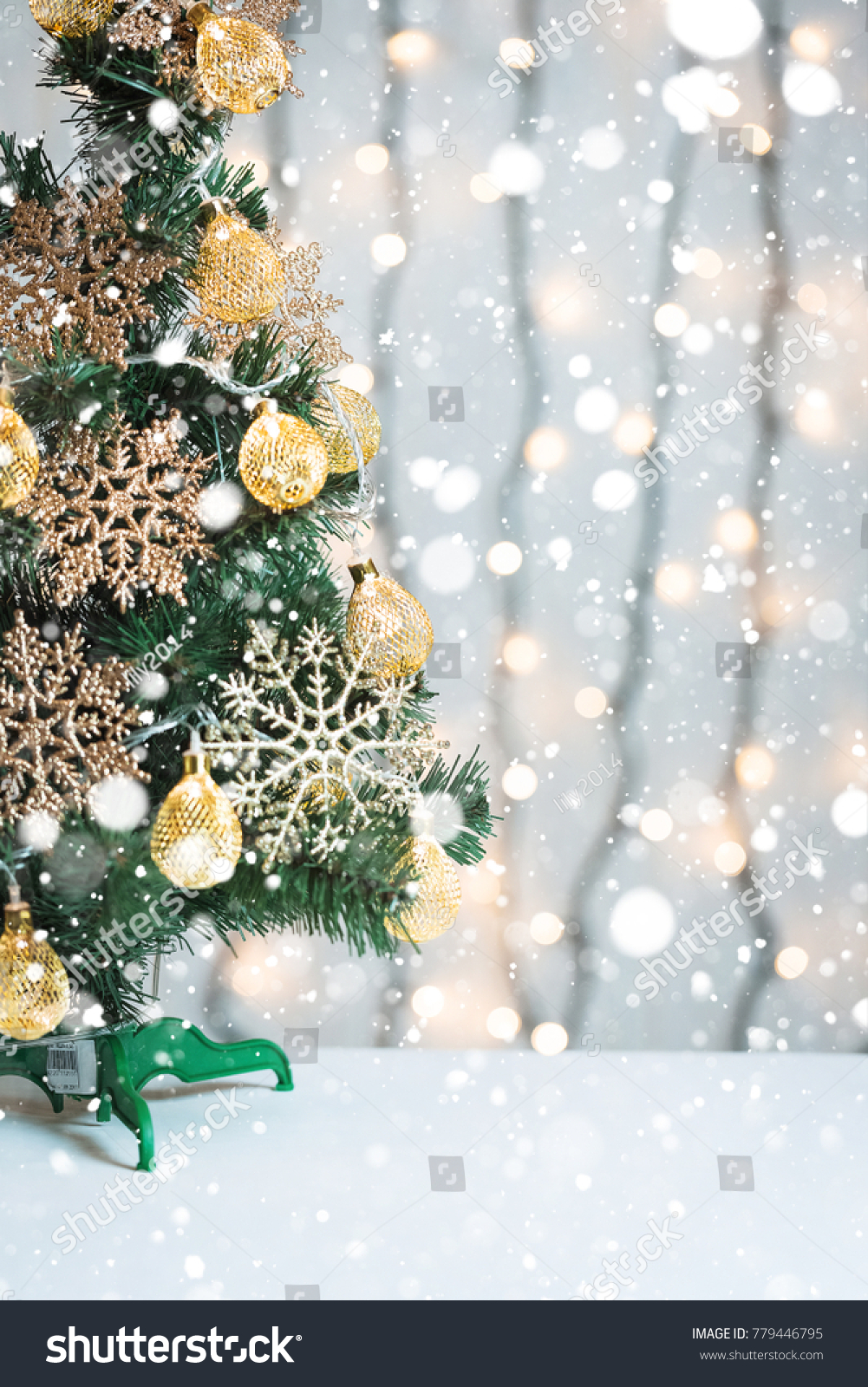 Christmas Tree Decorated Snowflakes Garland On Stock Photo (Edit Now ...