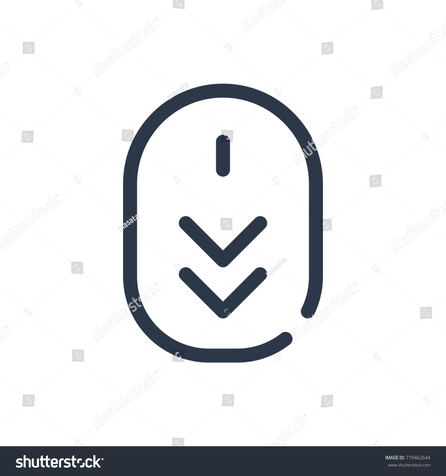 Scroll Down Icon Isolated Scrolling Scroll Stock Vector Royalty