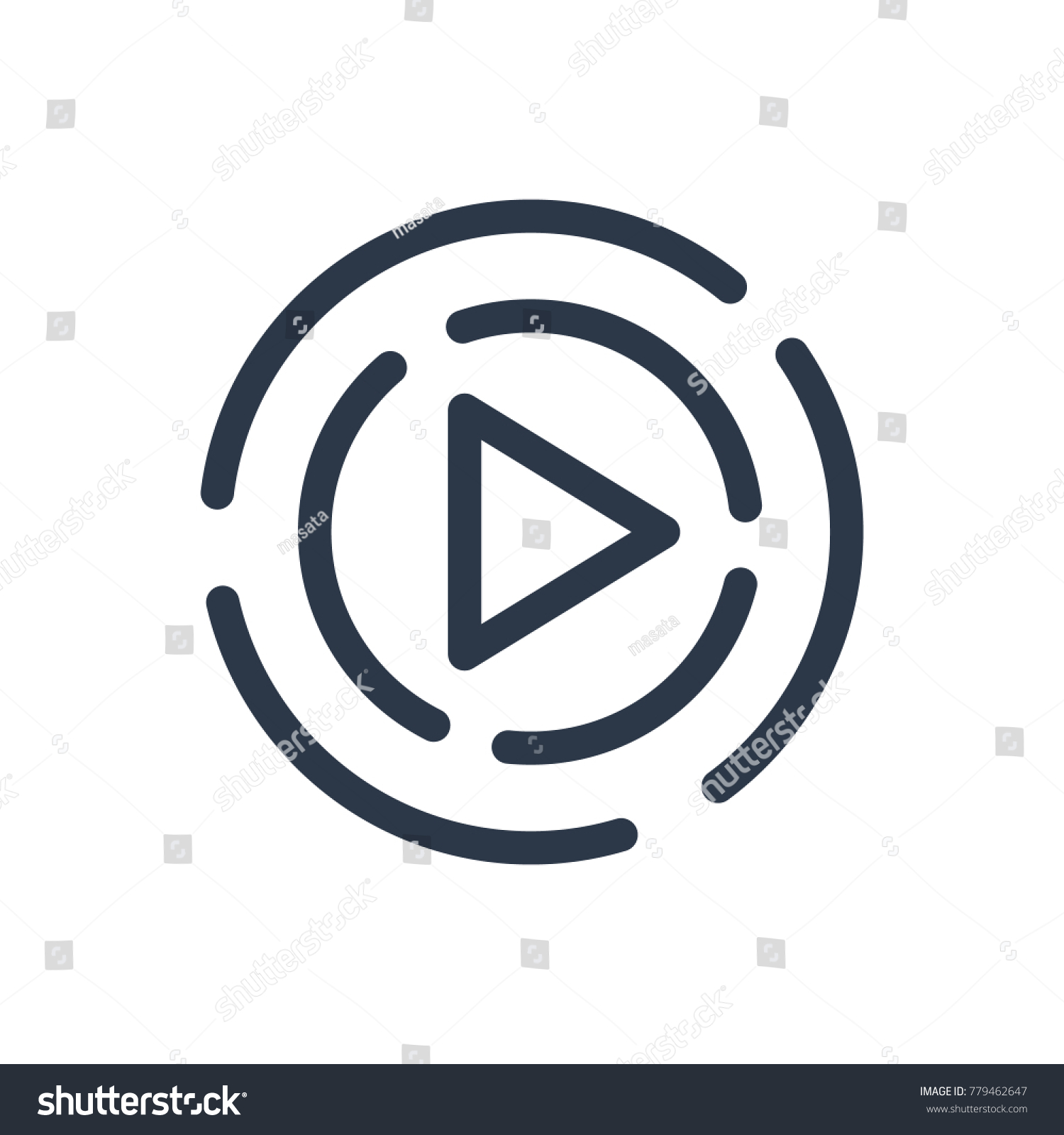 Play Icon Isolated Start Play Icon Stock Vector 2018 779462647