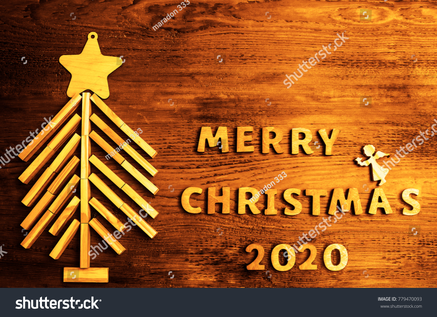 2020 happy new year driftwood wooden christmas tree made frome many wood blocks and merry - Merry Christmas Decorative Blocks